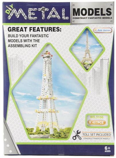 Teddies Stavebnice kov Eiffelova věž 407 dílků v krabici 26x36x6cm