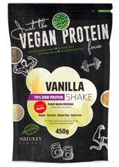 Nature's finest Bio Vegan Protein Shake mešanica, 70 % beljakovinska, s stevio, vanilija, 450 g