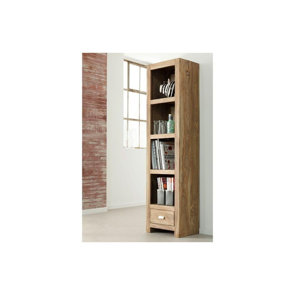 LAKŠMI Knihovna Gani 60x180x35 z indického masivu palisandr, Natural