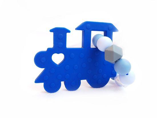 KidPro Silikónové hryzátko: Mašinka modrá
