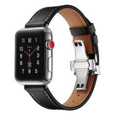MAX Náhradní řemínek pro Apple Watch 44mm MAS03 černý kožený