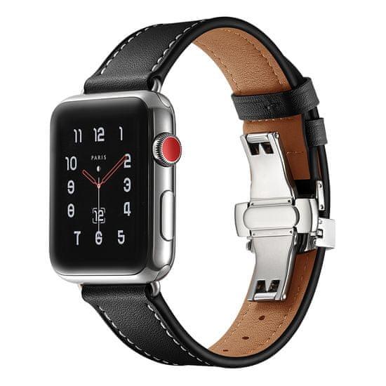 MAX Náhradní řemínek pro Apple Watch 40mm MAS04 černý kožený