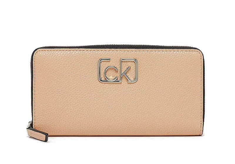 Calvin Klein Dámská peněženka Ck Cast Lrg Ziparound Dark Sand