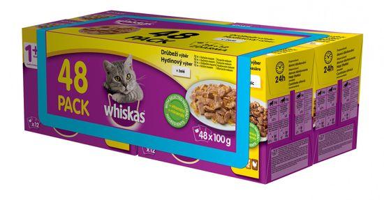 Whiskas kapsičky drůbeží výběr v želé pro dospělé kočky 48 x 100g