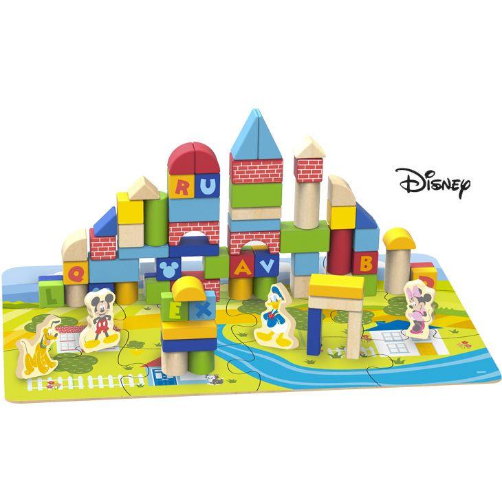 Derrson Disney Dřevěné kostky 92 ks s podložkou v kyblíku Mickey