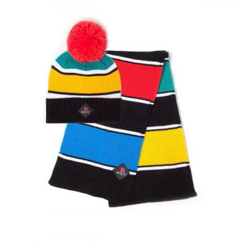 Zimní čepice a šála Playstation - Retro Colors