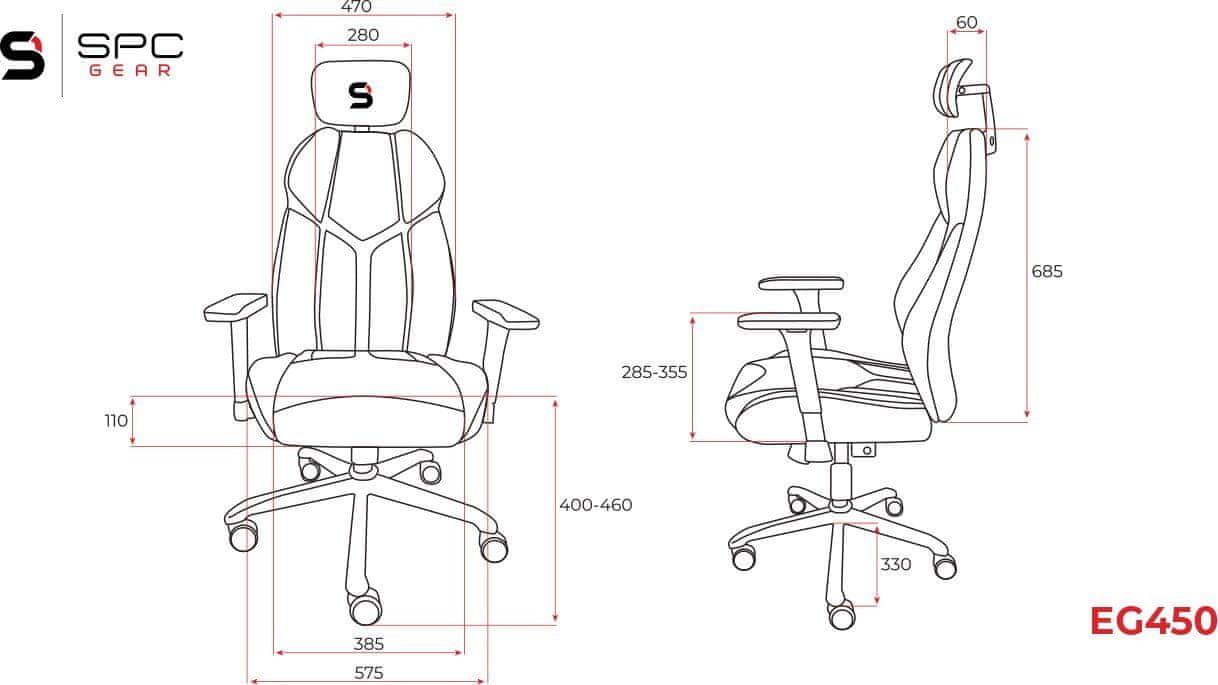 SilentiumPC Gear EG450 (SPG040) gamer szék, ergonómikus kialakítás, lélegző kárpit, 120 kg-ig, állítható, forgatható