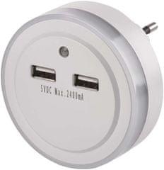 EMOS lampka nocna LED P3313 do gniazdka, 2 × USB
