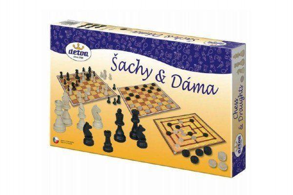 Detoa Šachy a dáma dřevo společenská hra v krabici 35x23x4cm