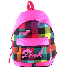 Pink Różowy plecak, kolorowe kostki