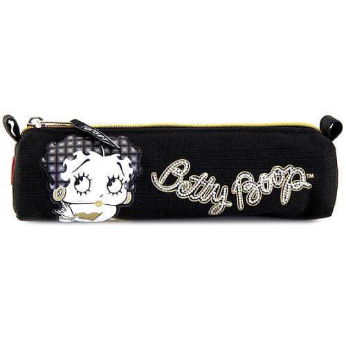 Betty Boop Školní penál , oválný, černý se zlatým zipem