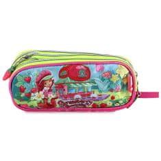 Strawberry Piórnik szkolny truskawkowy, eliptyczny, motyw małej dziewczynki w ogrodzie