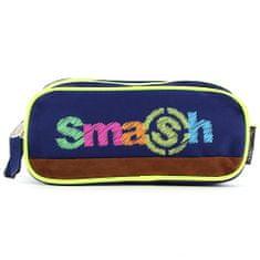 Smash Šolska škatla za svinčnike brez polnila, 2 žepa, temno modra / neon rumena