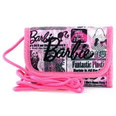 Barbie hurok pénztárca, rózsaszínű, leírt, fekete felirattel,