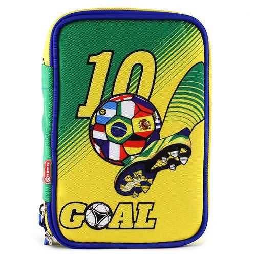 Goal Školní penál s náplní , jednopatrový, zeleno/žlutý