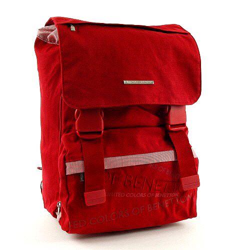 Benetton Školní batoh , na přezky červená