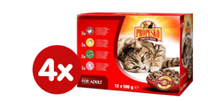 Propesko mokra karma w saszetkach dla kota - kurczak/wołowina/dziczyzna/jagnięcina 4x (12 x 100g)