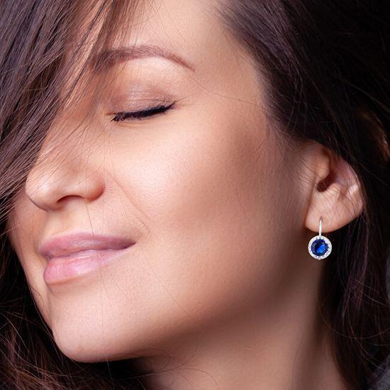 Beneto Ezüst fülbevaló kék kristályokkal AGUC1156