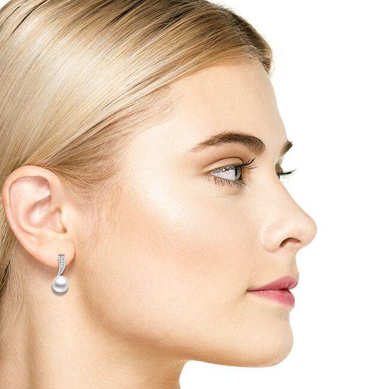 Beneto Srebrni uhani s pravimi biseri AGUP1188