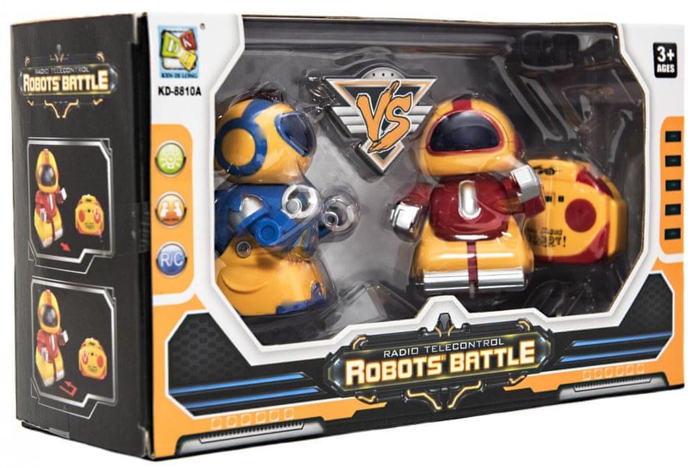 Teddies Mini roboti bojovníci RC 2ks plast 8cm na baterie se světlem v krabičce 24,5x14x9cm - rozbaleno