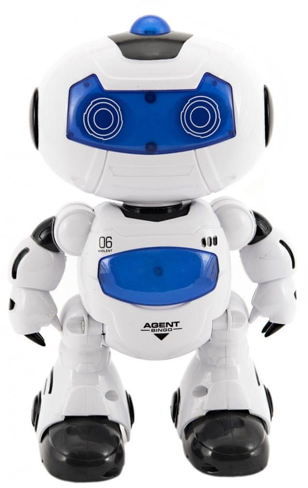 Teddies Robot RC chodící plast 20cm na baterie se světlem se zvukem v krabici 22x26x10,5cm