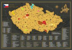 68 Travel Stírací mapa České republiky - mapa v dárkovém tubusu