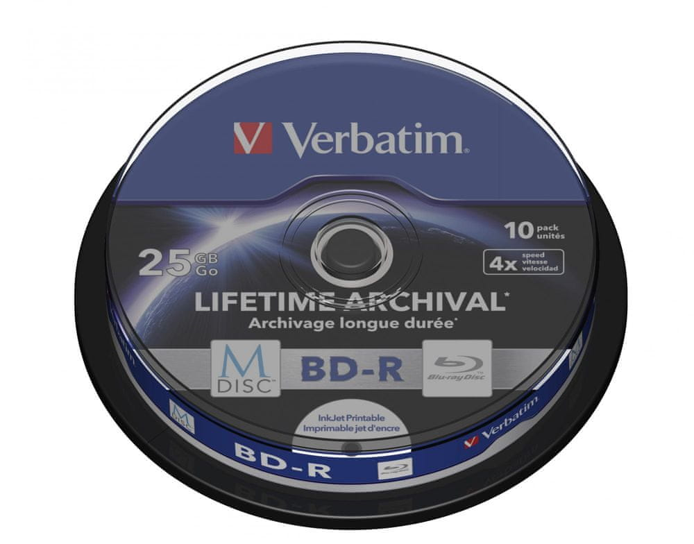 Verbatim M-DISC BD-R SL 25GB, 4x, printable, spindle 10 ks (43825)