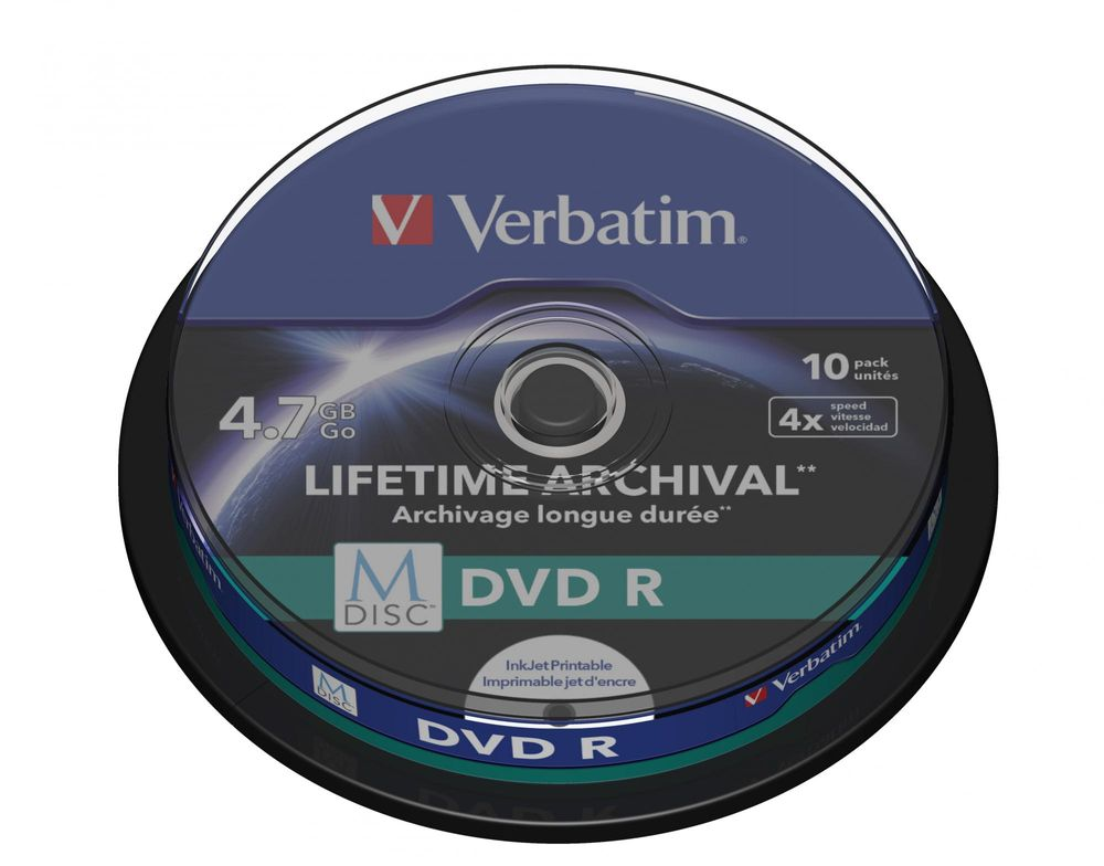 Verbatim M-DISC DVD-R 4,7GB, 4x, printable, spindle 10 ks (43824)
