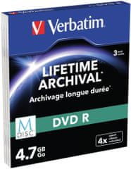 Verbatim M-DISC DVD-R 4,7GB, 4x, printable, slim case 3 ks (43826)