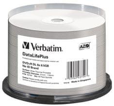 VERBATIM DVD+R DL DataLifePlus 8,5GB, 8x, thermal printable, spindle 50 ks (43754)