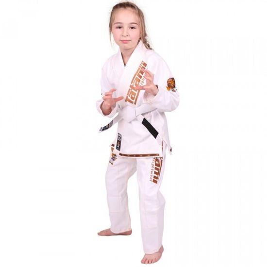 Tatami Dětské Kimono MEERKATSU ANIMAL GI - bílé