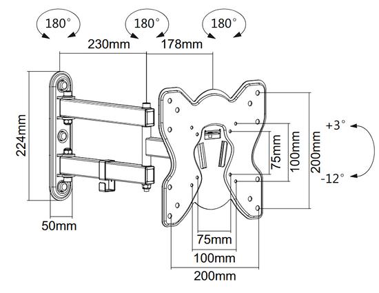 """MAX nosač za televizijski prijemnik, 58,4 (23"""") - 106,68 cm (42"""")"""