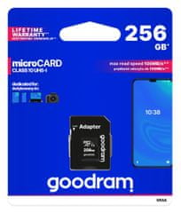 GoodRam spominska kartica microSD 256GB 100MB/s + SD adapter (500308)