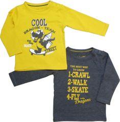 Carodel sada 2 dětských triček 62 šedá/žlutá