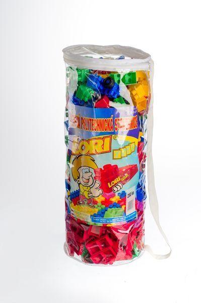 Teddies Stavebnice LORI 250 plast 250ks v plastovém pytli 30x45x22cm