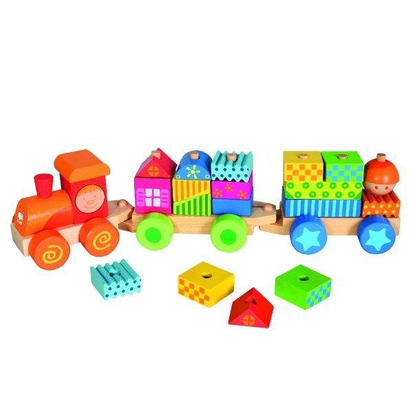 Teddies Vlak s domečky dřevo 21 dílků v krabici 43x10x10cm 18m+