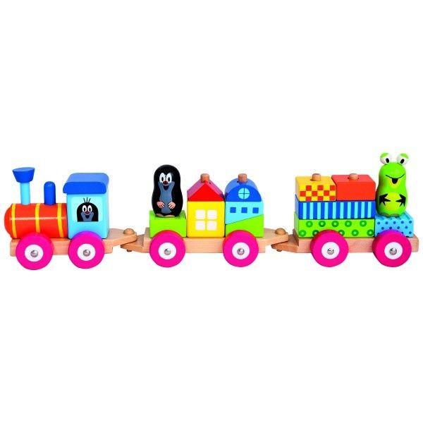 Teddies Vlak s domečky Krtek dřevo 19ks v krabici 43x10x10cm 18m+