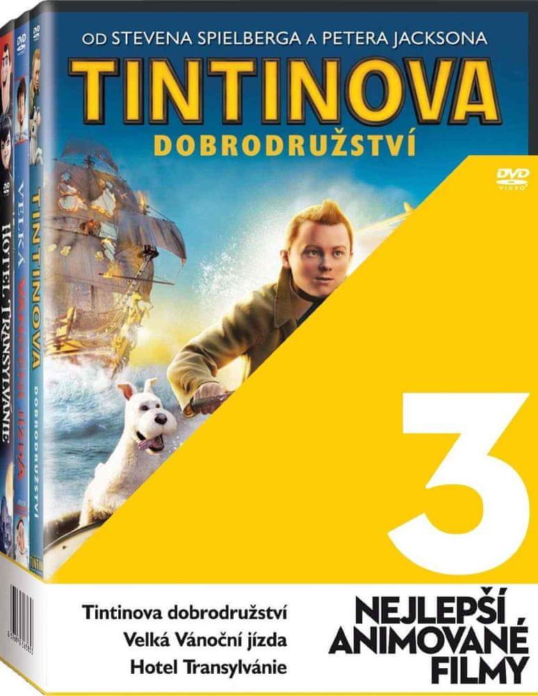 Nejlepší animované filmy (Tintin, Velká vánoční, Hotel Transylvánie) - 3 DVD