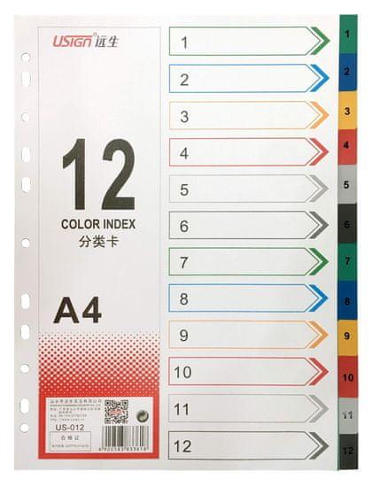 Blue Link listi, pregradni, plastificirani, 12 barv (26536)