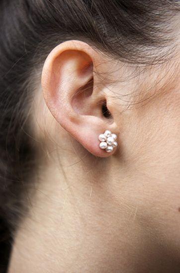 JwL Luxury Pearls Uhani za rože iz pravih kovinsko modrih biserov JL0580