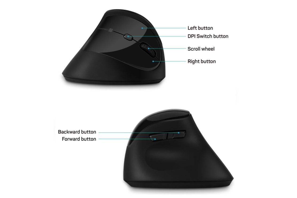 Connect IT FOR HEALTH ergonomiczna wertykalna mysz (CMO-2801-BK) usb nano mysz optyczna przełączniki mechaniczne żywotność 3 miliony kliknięć 6 przycisków smart power-saving