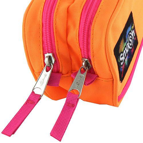 Smash Šolska škatla za svinčnike brez polnila, neonska oranžna z rožnatim robom