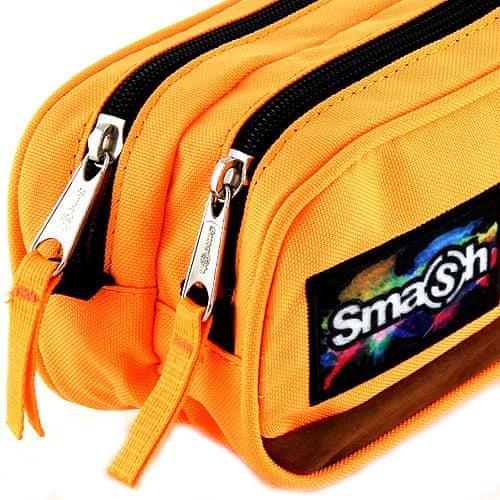Smash Školský peračník bez náplne , neónovo oranžový, 2 vrecká