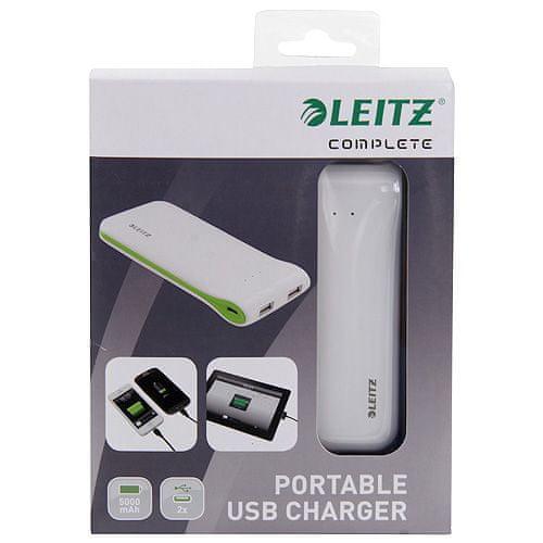 LEITZ hordozható USB töltő, fehér
