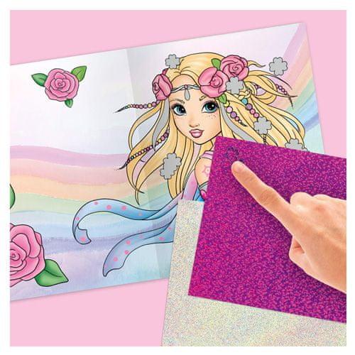 Fantasy Model Knjiga za barvanje, kreativni komplet , Morska deklica, svetleča folija