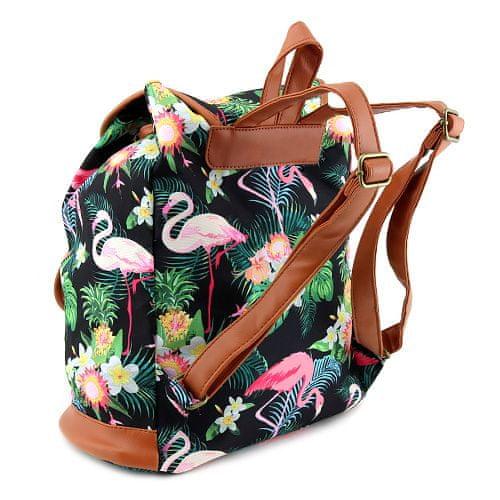 Target Ciljni nahrbtnik, Črna z flamingo, rjava usnja