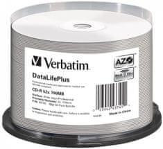 VERBATIM CD-R DataLifePlus 700MB, 52x, white printable, spindle 50 ks (43745)