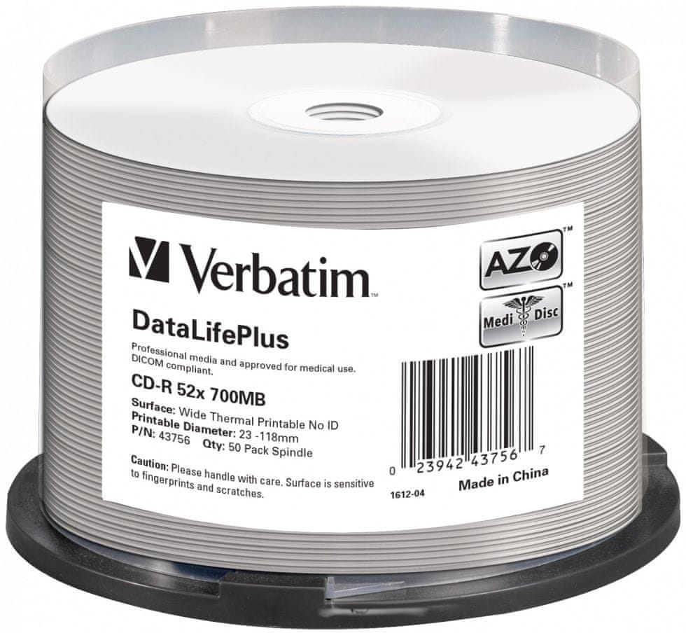Verbatim CD-R DataLifePlus 700MB, 52x, white thermal printable, spindle 50 ks (43756)