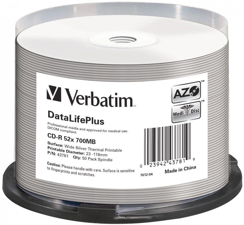 Verbatim CD-R DataLifePlus 700MB, 52x, silver thermal printable, spindle 50 ks (43781)