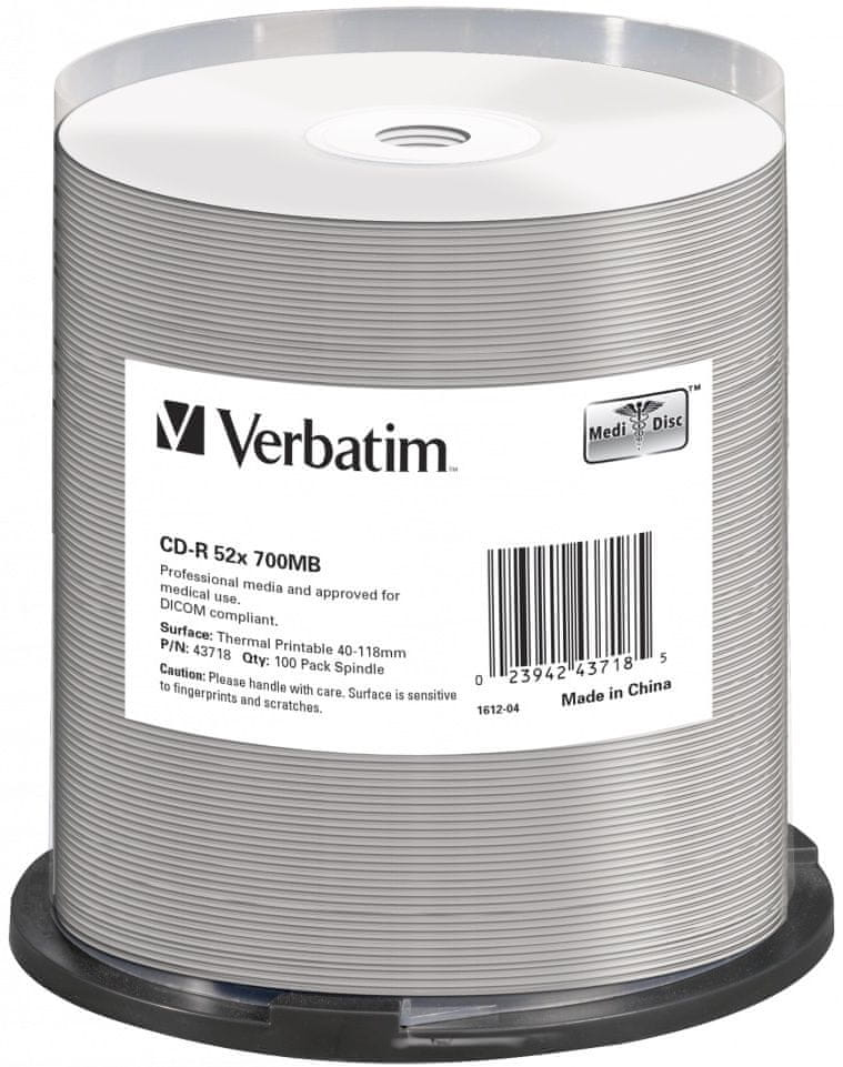 Verbatim CD-R DataLifePlus 700MB, 52x, thermal printable, spindle 100 ks (43718)